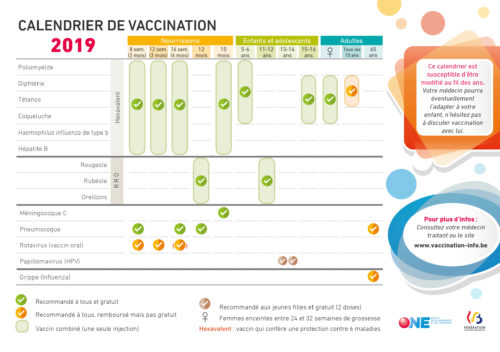 Calendrier vaccination 2019
